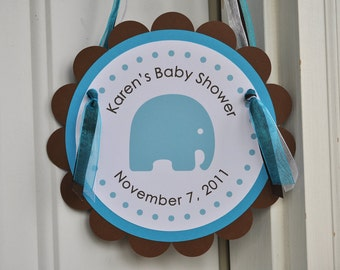 Boy Baby Shower Door Sign Elephant Theme - Personalized With Baby's Name