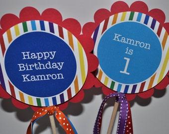 Rainbow Birthday Party Centerpiece Sticks - Rainbow Birthday Decorations - Rainbow Party - Set of 3
