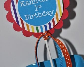 Rainbow Party Cake Topper - Rainbow Birthday Party Decorations - Rainbow Stripe - Smash Cake Topper