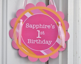 Girls 1st Birthday Sign, Birthday Party Door Sign, Birthday Party Decorations, Welcome Sign, Girls Birthday Party, Pink and Orange Stripe