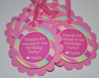 Birthday Party Favor Tags, Girls Birthday Favors, Thank You Tags, 1st Birthday Favors, Pink, Blue, Green and Yellow Stripe - Set of 24 Tags