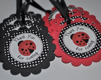 Ladybug Favor Tags, Birthday Party Favor Tags, Baby Shower Favor Tags, Thank You Tags, Personalized Party Decorations - Set of 12