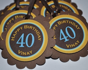 12 Birthday Party Favor Tags - Personalized 40th, 30th Birthday etc.