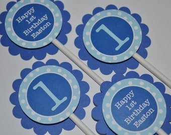 12 Cupcake Toppers - Dark Blue and Light Blue Polkadot - Personalized Birthday Party Decorations
