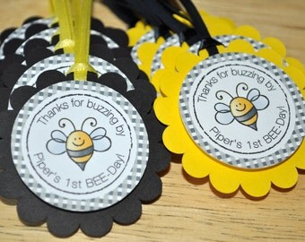 12 Birthday Party Favor Tags - Bumble Bee Theme - Happy BEE-Day