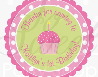 Birthday Favor Sticker Labels - Girls 1st Birthday - Pink and Lime Green Polka Dots Cupcakes - Set of 24