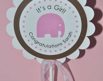 Girl Baby Shower Cake Topper - Elephant Theme - Personalized Baby Shower Decorations
