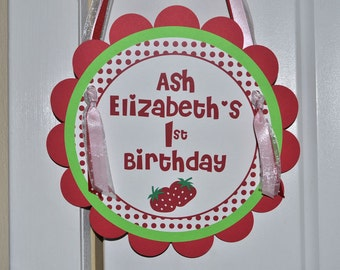Strawberry Birthday Party Sign - Berry Sweet Birthday Party - Girls Birthday Party Decorations