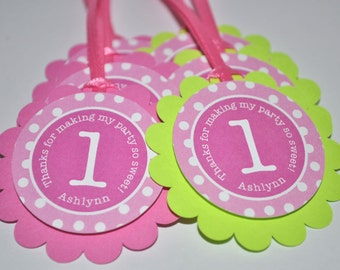 Birthday Party Favor Tags, Girls Birthday Party Decorations, Personalized Favor Tags, Thank You Tags, Pink and Lime Green - Set of 12