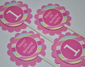 12 Cupcake Toppers 1st Birthday - Pink, Blue, Green and Yellow Diagonal Stripe