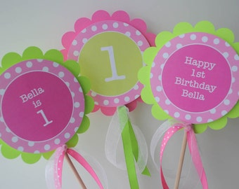 Girls 1st Birthday Centerpiece Sticks, Birthday Decorations, Table Decorations, Party Supplies - Pink and Green Polka Dots - Set of 3