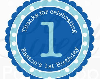 Birthday Favor Sticker Labels - Dark Blue and Light Blue Polkadot - Personalized Birthday Favor Stickers - Set of 24