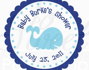 Whale Baby Shower Favor Sticker Labels - Thank You Stickers - Boy Whale Baby Shower Decorations - Nautical Baby Shower - Set of 24