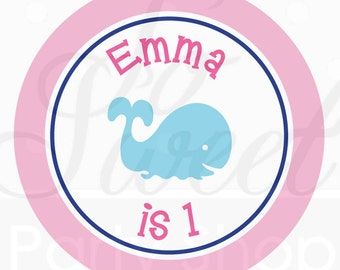 24 Birthday Favor Sticker Labels - Whale Theme - Personalized