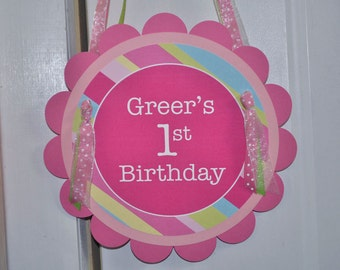 Girls Birthday Party Door Sign - Pink, Blue, Green and Yellow Stripe