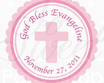 24 Girl's Baptism, First Communion Favor Sticker Labels