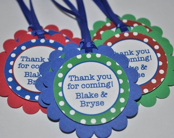 12 Birthday Favor Tags - Red, Blue and Green Polkadots - Personalized Birthday Decorations
