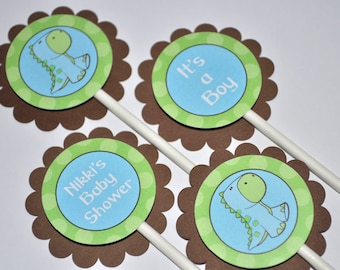 12 Cupcake Toppers - Dinosaur Baby Shower - Brown, Green and Blue