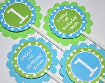 Boys 1st Birthday Cupcake Toppers, Boys Birthday Party Decorations, Bright Pool Blue, Bright Green and White Polkadots - Set of 12