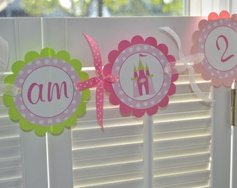 Princess Highchair Banner - 1st Birthday Banner - I am 1 Banner - Photo Prop - Girls 1st Birthday Banner - Princess Party Decorations