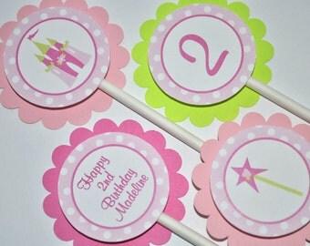 Princess Cupcake Toppers - Princess Birthday Party Decorations - Girls 1st Birthday - Princess Party - Set of 12