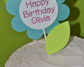 Cake Topper - Girls Birthday - Flowers and Butterflies