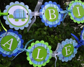 Boys Birthday Banner - Turtle - Preppy Plaid - Blue, Green - Personalized - Boys Birthday Party or Baby ShowerDecorations
