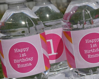 10 Personalized Water Bottle Labels - Girls Birthday Party Decorations - Pink and Orange Stripe