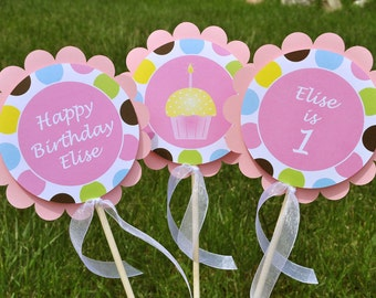 Centerpiece Sticks - Girls 1st Birthday Party - Personalized - Cupcakes and Polkadots - Birthday Decorations - Set of 3