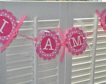 Highchair Banner - Girls 1st Birthday Banner - Polkadots Pink and White - Birthday Party Decorations