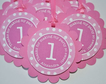 Girls 1st Birthday Party Favor Tags, Thank You Favor Tags, Pink and White Polkadot Party, Girls Birthday Party Decorations - Set of 12