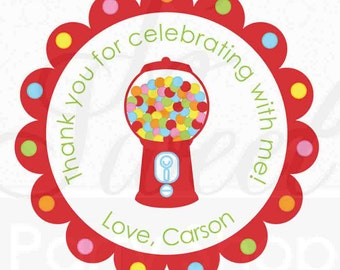24 Birthday Party Favor Stickers - Bubblegum Theme - Boys or Girls Birthday Party Decorations