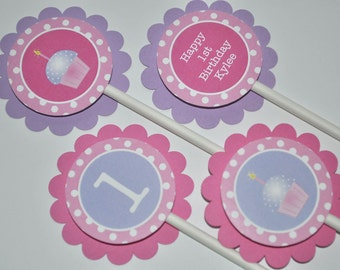 Girls 1st Birthday Cupcake Toppers, Girls Birthday Party Decorations, Cupcake Birthday, Polkadots Pink, Lavender with Cupcakes - Set of 12