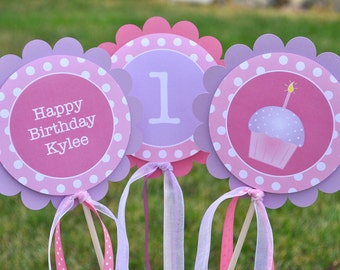 Girls Birthday Party Decorations, Table Centerpiece Sticks, Polkadots Pink, Lavender with Cupcakes - Set of 3