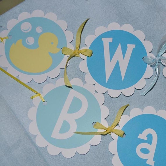Baby Shower Custom Banners: Baby Shower Banner Boy Or Girl Rubber Ducky Theme