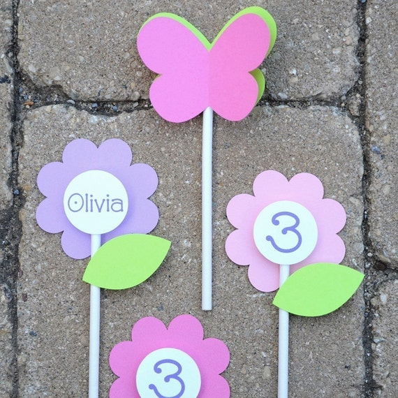 12 Birthday Cupcake Toppers - Flowers and Butterflies - Girls 1st Birthday Party Decorations