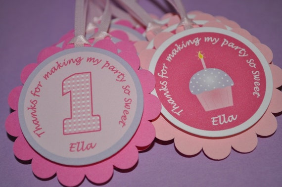 12 Girl's 1st Birthday Party Favor Tags - Cupcake Theme - Pink and Purple - Personalized