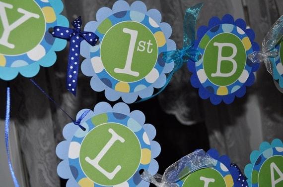 Birthday Banner - Blue Polkadots - Personalized - Boys Birthday Party ...
