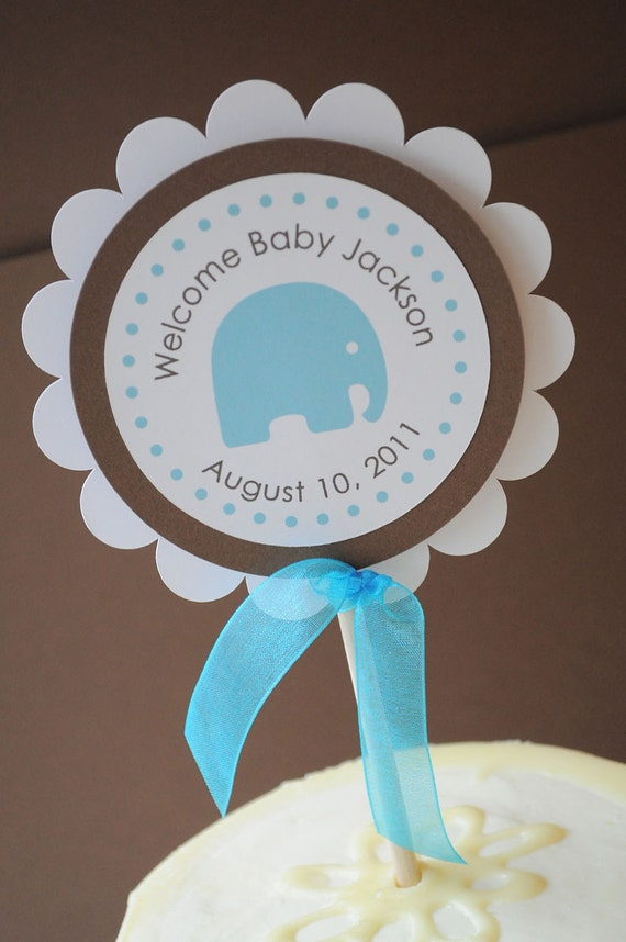 boy baby shower cake topper elephant theme personalized with baby 39 s