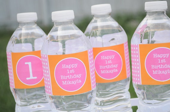 Water Bottle Labels Personalized Drink Labels - 1st Birthday Party Decorations - Orange, Pink and White Polkadots - Set of 10