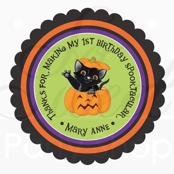 Halloween Stickers Personalized - Cat Pumpkin - Favor Sticker Labels - Halloween Decorations