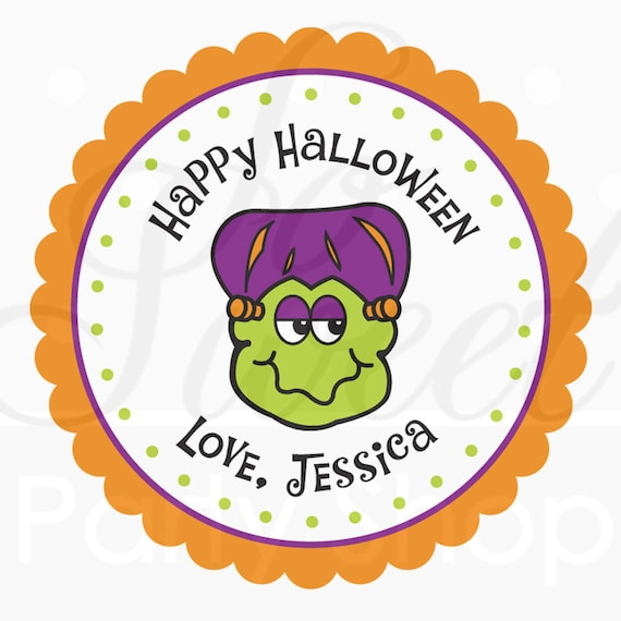 Halloween Favors Personalized Stickers - Frankenstein - Halloween Favors, Halloween Party