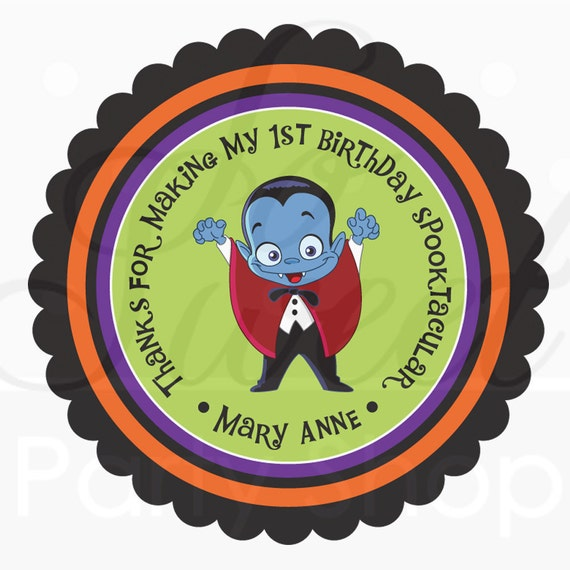 24 Halloween Favors Stickers Personalized - Dracula - Favor Sticker Labels - Halloween Decorations, Trick or Treat