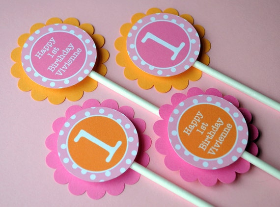12 Cupcake Toppers 1st Birthday - Orange, Pink and White Polkadots