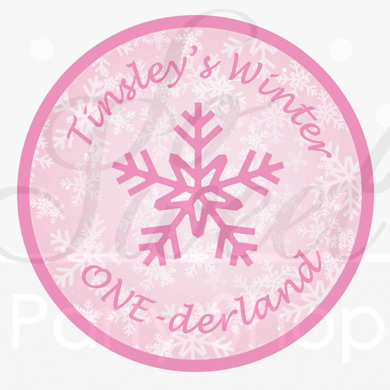1st Birthday Favor Sticker Labels - Girls 1st Birthday - Snowflake, Winter One-derland - Set of 24