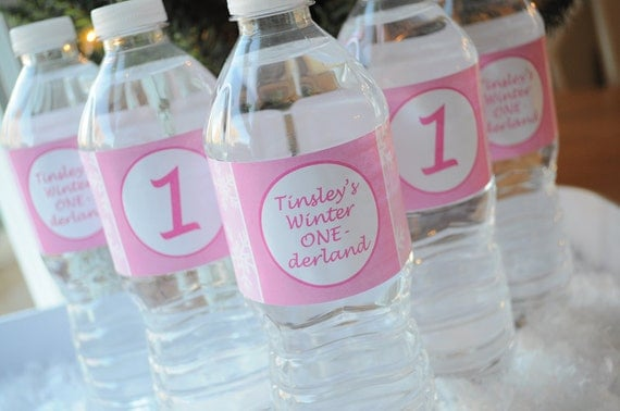 Snowflake Water Bottle Labels - 1st Birthday Party Decorations - Snowflake, Winter One-derland - Set of 10