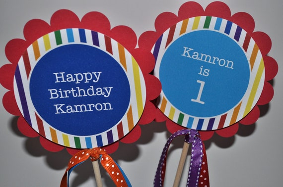 Rainbow Birthday Party Centerpiece Sticks - Rainbow Birthday Decorations - Rainbow Party - Set of 3