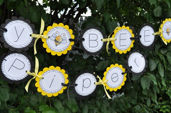 Bee Birthday Banner - Bumble Bee Theme - Happy BEE-Day Birthday Party Decorations - Girls Birthday Banner