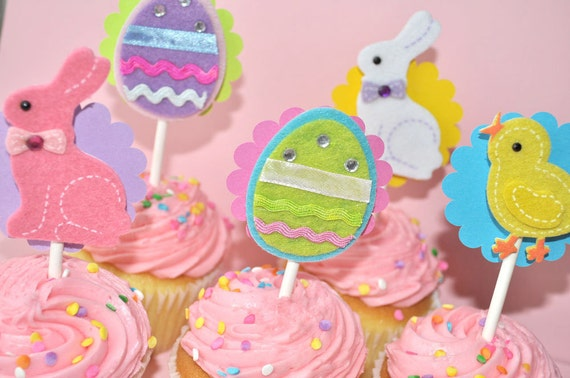 Easter Cupcake Toppers - Spring Birthday Party - Bunny and Easter Eggs - Set of 12