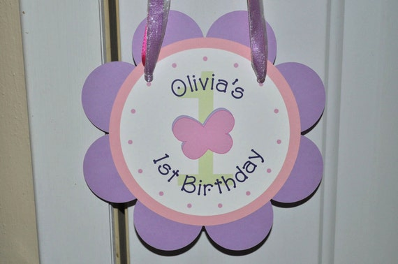 Girls 1st Birthday Door Sign - Flowers and Butterflies - Garden Party - Flower and Butterfly Birthday Decorations - Pink and Purple